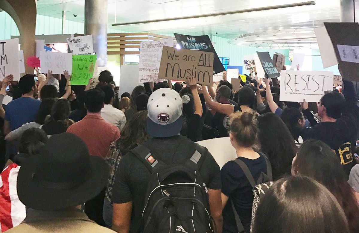 Protesters at LAX