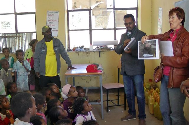 UCLA professor Willeke Wendrich speaks at a school in Ethiopia