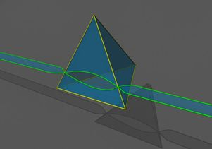 A simulation of the formation of a defect tetrahedron in irradiated metals