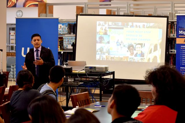 Williams Lopez, intern in the UCLA office of government and community relations, speaking at Robert F. Kennedy UCLA Community School.