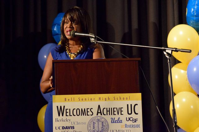 UCLA's Youlonda Copeland-Morgan speaks to students, parents and guardians about how to navigate the application process for the University of California.