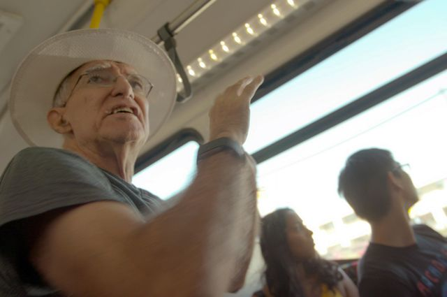UCLA history professor Teo Ruiz on a city bus.