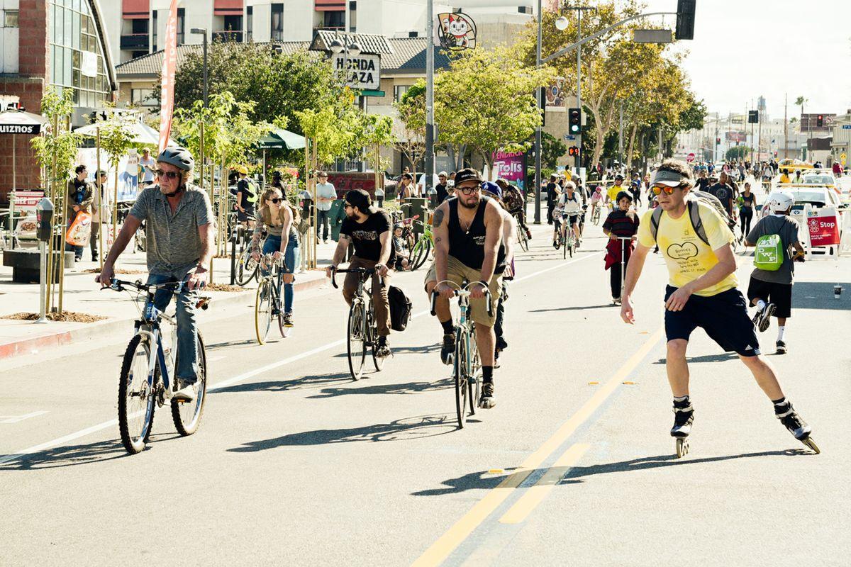 Bike scene during a CicLAvia event in L.A. in 2016