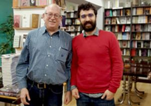 David Hirsch and friend at a Kurdish bookstore in Istanbul