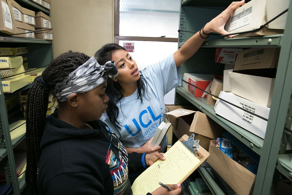 Volunteers at Mann UCLA Community School beautification