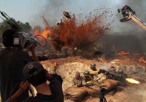 Filming a battle scene