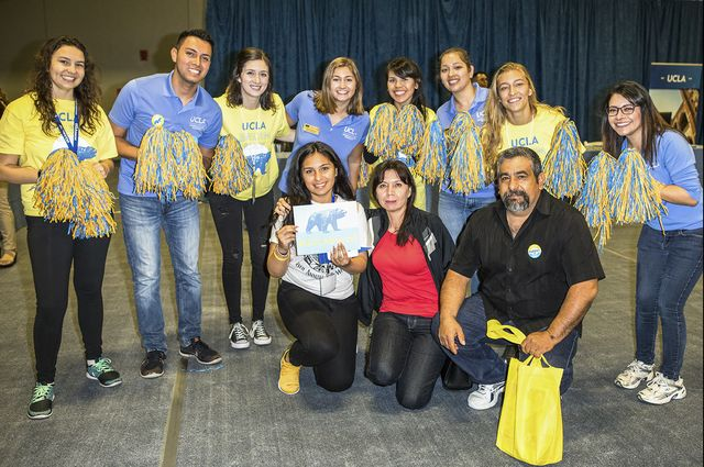 Michelle Servin and her family along with UCLA volunteers at Bruin Day 2017.