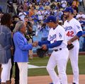 L.A. Dodgers manager Dave Roberts and Rachel Robinson