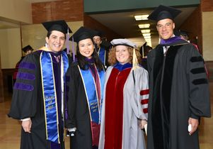 Two law school graduates, Dean Jennifer Mnookin, Judge Paul Watford