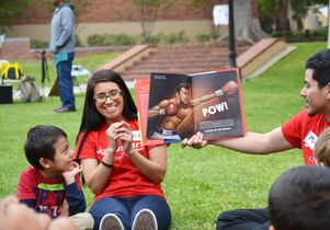 Jumpstart UCLA students and children attending a literacy fair