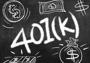 401(k) images on a chalkboard
