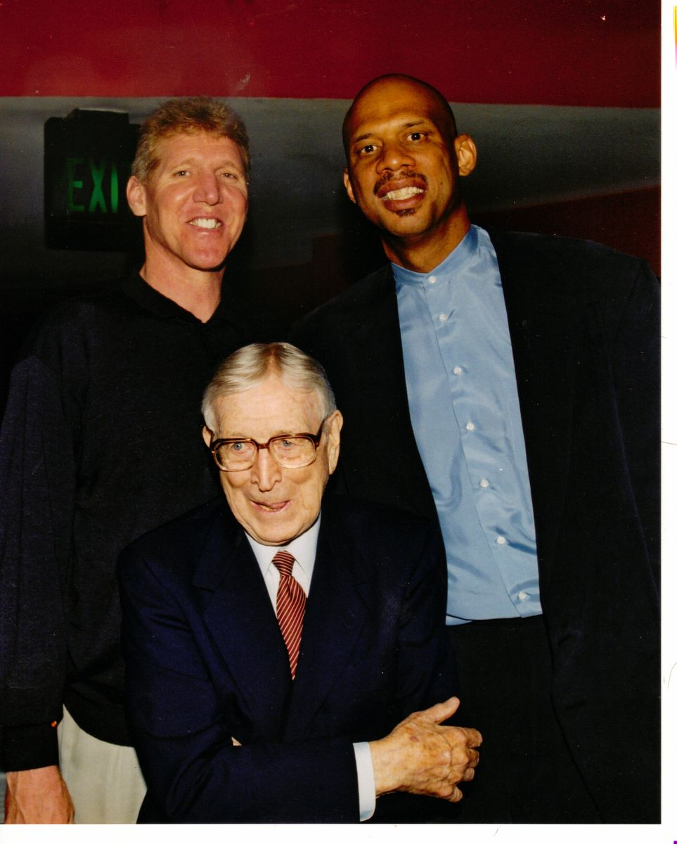 Bill Walton, Kareem Abdul-Jabbar and John Wooden