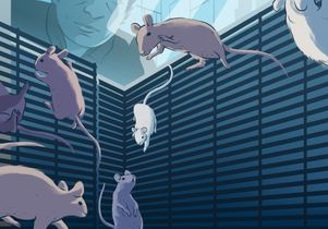 Illustration of mice in their space habitat