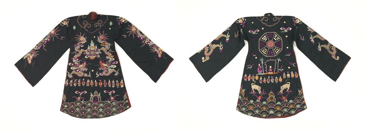 Artist Unknown (Tày peoples, Vietnam). Robe (front and back views), late 19th to early 20th century Handmade textile, embroidery.