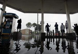 Flooded gas station in Houston