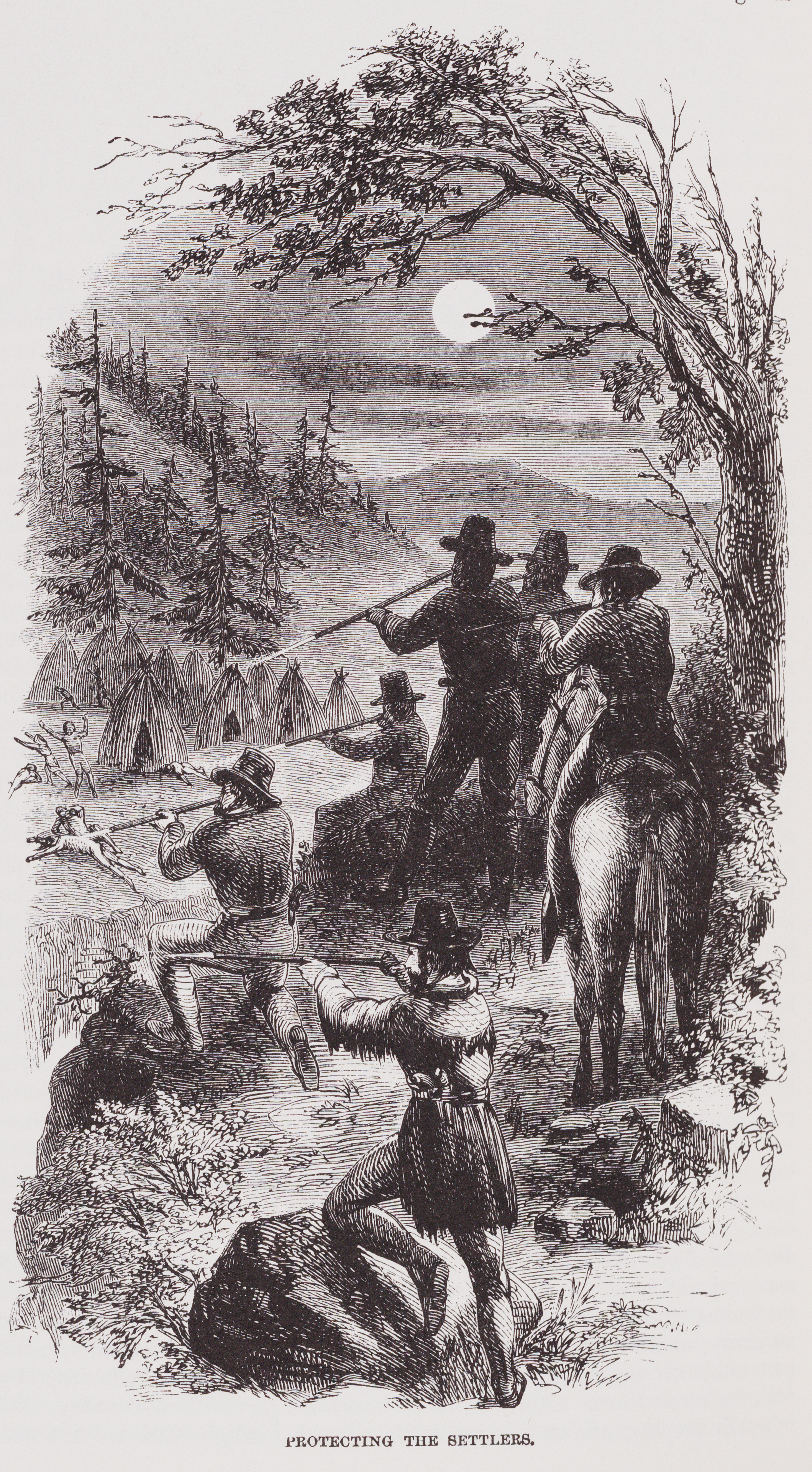 Illustration from American Genocide of men shooting people from atop a hill.
