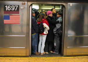 Crowded subway car