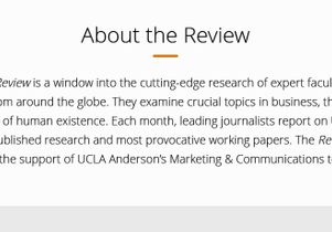 About UCLA Anderson Review