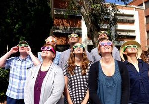 UCLA staff viewing the 2017 solar eclipse