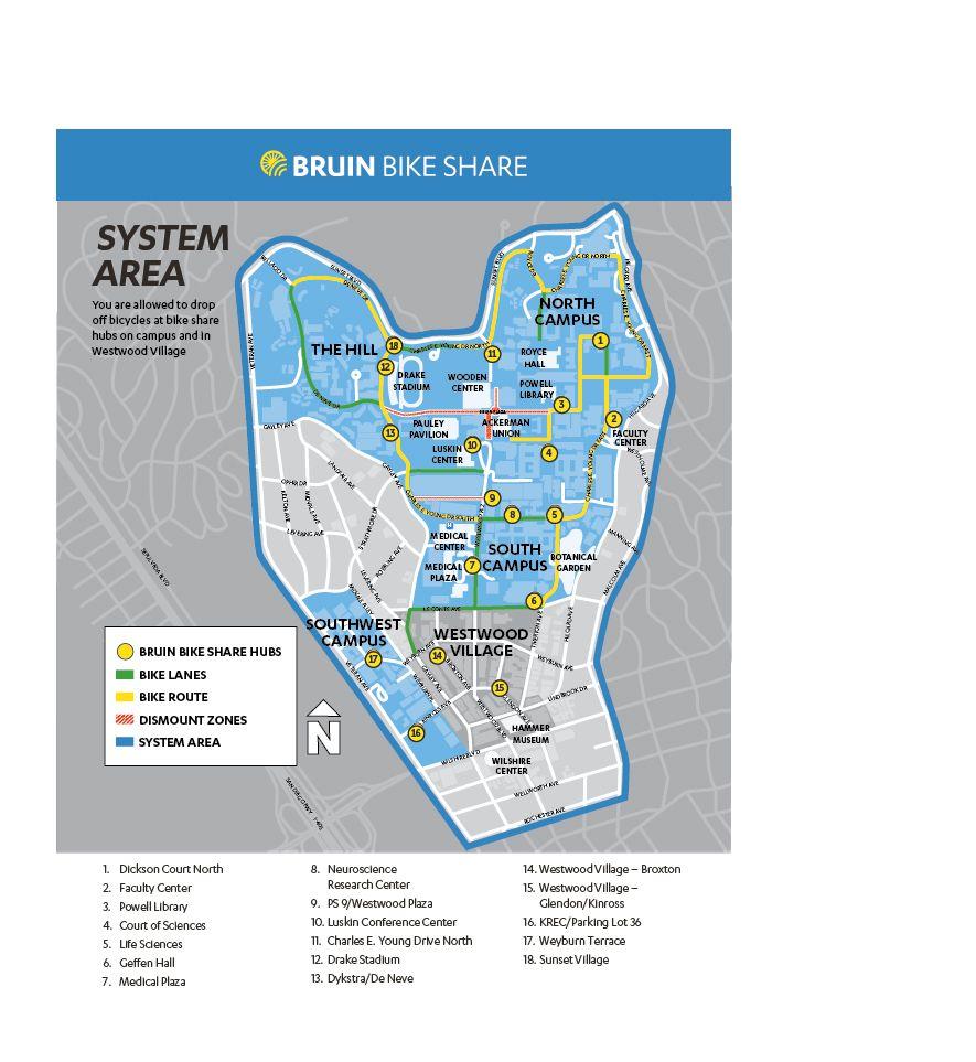 UCLA bike share map
