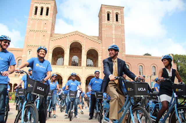 Bruin Bike Share riders in front of Royce Hall