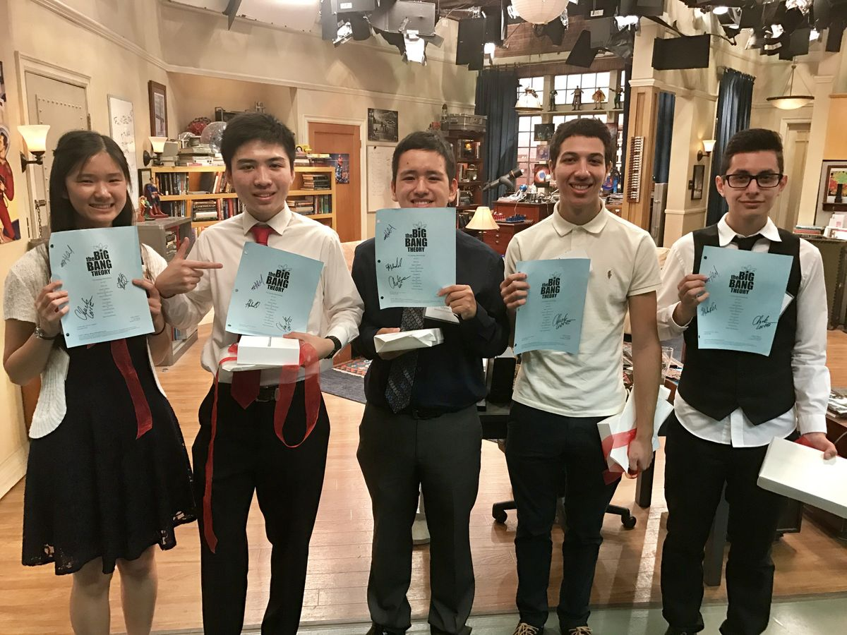 Big Bang Theory Scholarship recipients show off signed scripts