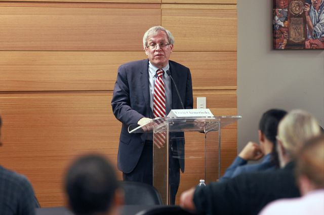 Erwin Chemerinsky, dean of the UC Berkeley School of Law, addresses the crowd at a free speech panel discussion at UCLA.