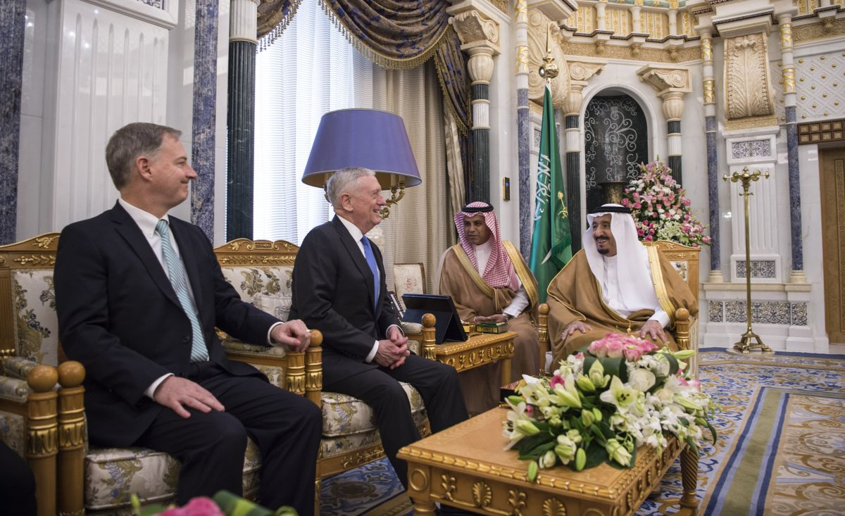 Secretary of Defense Jim Mattis meets with Saudi Arabia's King Salman Bin Abdulaziz Al-Saud in Riyadh, Saudi Arabia, April 19, 2017.