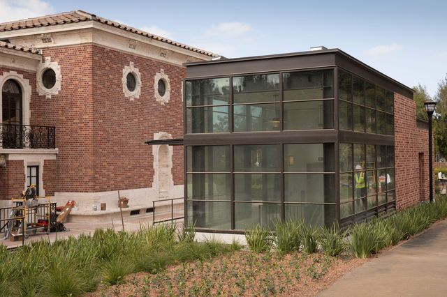 This elevator and pavilion have been added to the UCLA William Andrews Clark Memorial Library.