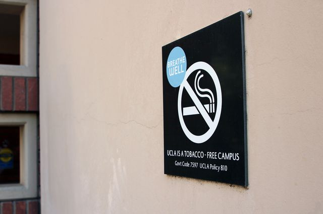 Smoke-free campus sign at UCLA