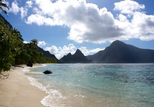 Beach on island of Ofu, American Samoa