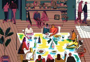 Dinner party illustration