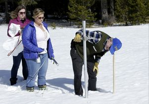 Measuring snowpack at Echo Summit