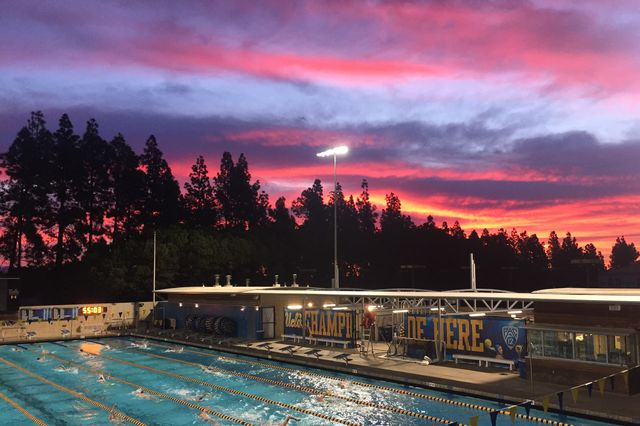 Sunrise over Spieker Aquatic Center at UCLA