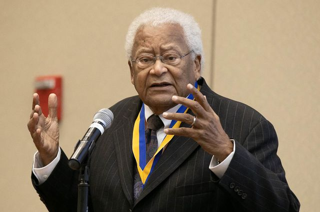 The Rev. James Lawson gives a speech after being presented with the UCLA Medal.