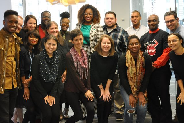 Students participating in UCLA School of Law's international human rights programs in New York City along with their professor, E. Tendayi Achiume, top row, fifth from left.