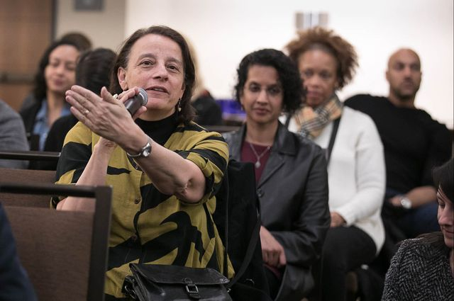 Pat Turner, dean and vice provost of undergraduate education and senior dean of the UCLA College, asks a question at the 2018 Hollywood Diversity Report panel discussion.
