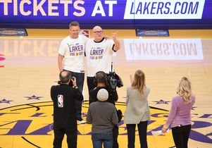 Brian Gilliam, left, donated a kidney to his father, Dana, and the two were later honored as Los Angeles Lakers for a Day.