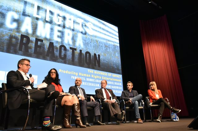 L to R: Peter Bisanz, Bonnie Abaunza, Dr. Eric Esrailian, Mike Medavoy, Gabriel Brakin and Catherine Hardwicke share their views on the business of social-justice entertainment.