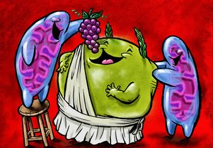 <em>Scott Wilde</em><br>Image represents mitochondria (blue and pink) and a lipid droplet, center.