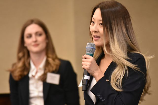 UCLA Anderson student Jenny Leung, right, and UCLA Law student Grace Bowden of BellaNové pitch their product for pregnant moms.