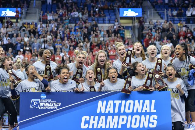 UCLA gymnastics celebrating title