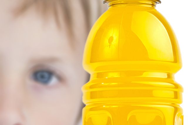 Child with sports drink illustration