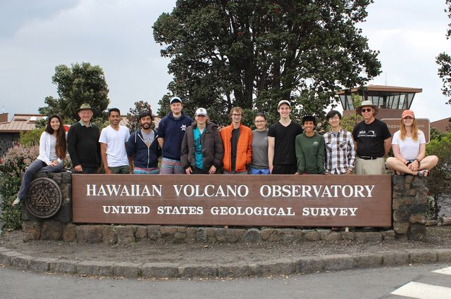 Students and faculty from UCLA Earth, planetary and space sciences at Hawaiian Volcano Observatory in March 2018.