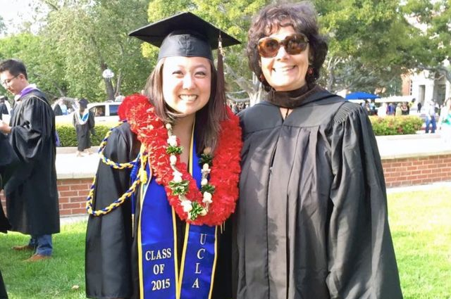 Barbara with Lindsey Kunisaki, a participant in the Visual and Performing Arts Education program, at UCLA commencement in 2015.