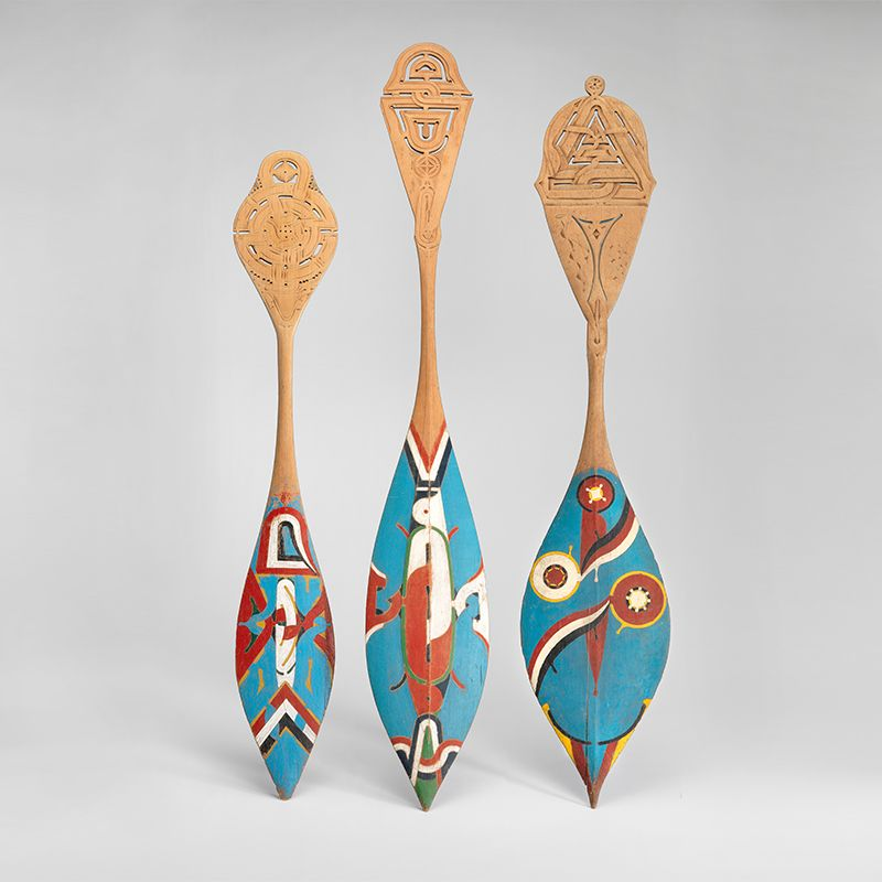 Decorated canoe paddles