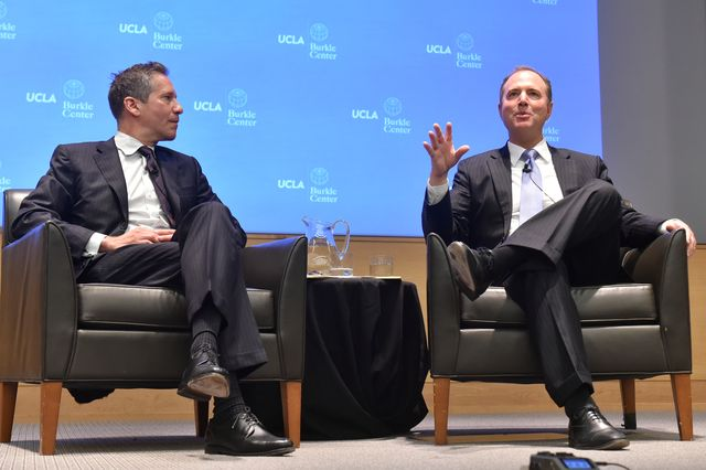 Kal Raustiala and Adam Schiff at Burkle Center lecture