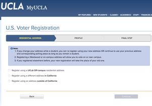 MyUCLA voting registration screen