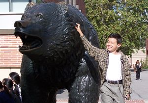 Kevin Herrera and the Bruin statue