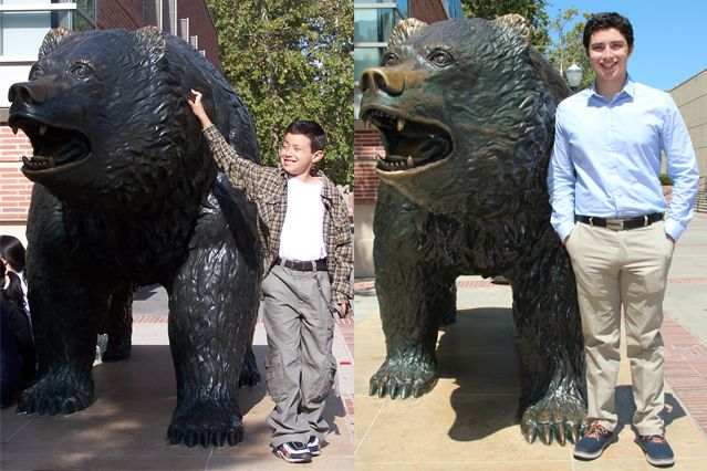 Two photos of Kevin Herrera side-by-side standing next to the Bruin.